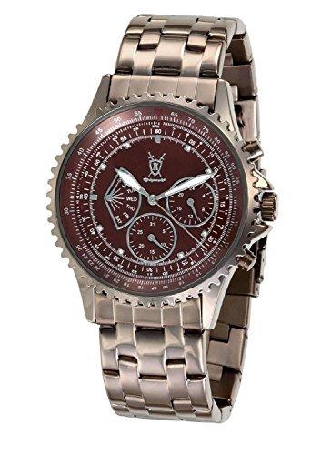 Konigswerk Herrenuhr Multifunktions-Braunes-Edelstahl-Armbanduhr Kristall Markierungen SQ201464G