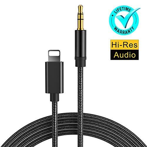 Cable Auxiliar Coche Cable Jack 3.5mm Macho [1M] Premium 3,5 mm Durable Cable Aux para Auriculares Coche Estéreo Auricular Hi-Fi Stereo Altavoz Compatible para iPhone 7/7Plus/8/8Plus/X - Negro