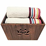 Wooden Copper Texturted Towel Tray with ...