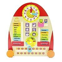 Aoneky Wall Wooden Calendar Clock - Kids Teaching Clock Educational Learning Toys for Children