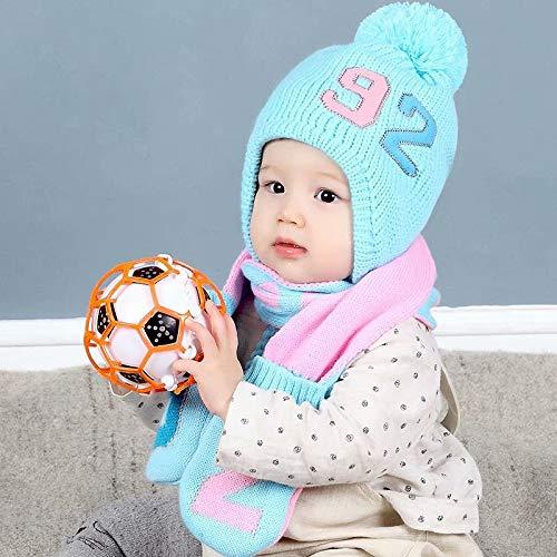 mlpnko Baby Mütze Verdickung 0-2 Jahre alt Baby warme Ohrenschützer Jungen und Mädchen Wollmütze blau 4 Monate -2 Jahre alt