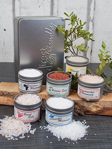 direct&friendly 6 Kontinente Salzbar Geschenkset mit unterschiedlichen Natursalzen aus aller Welt
