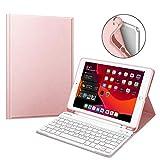 Fintie Tastatur Hülle für iPad 10.2 Zoll 2019, Soft TPU Rückseite Gehäuse Keyboard Case mit Pencil Halter, magnetisch Abnehmbarer drahtloser Bluetooth Tastatur mit QWERTZ Layout, Roségold