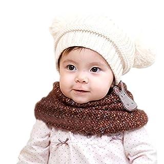 Atdoshop Cute Baby Kids Girl Boy Dual Balls Warm Winter Knitted Cap Hat Beanie (White)