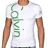 Calvin Klein–T-shirt, Kurze Ärmel–Herren–cmp13s–Weiß Grün Gr. X-Large, Weiß - weiß