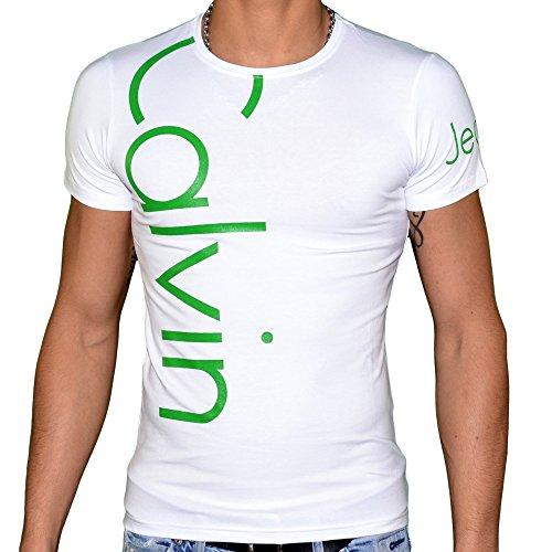 Calvin klein–t shirt maniche corte–uomo–cmp13s–bianco verde bianco x-large
