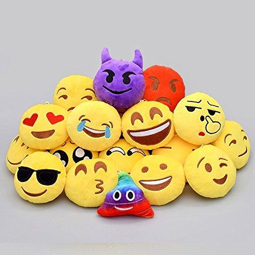 JZK® 38pcs mini juguete de peluche  emoji llavero emoticonos llavero emoción para niños & adulto fiesta de cumpleaños favores rellenos del bolso del partido  decoraciones para fiestas ( 5cm / 2 pulgadas)