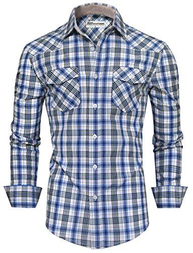HRYfashion -  Camicia classiche  - A quadri - Con bottoni  - Maniche lunghe  - Uomo Blu