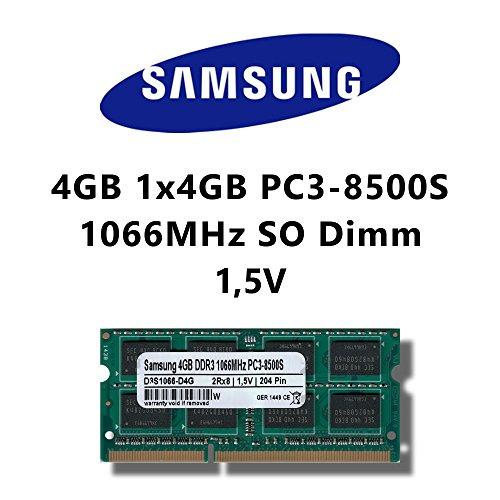 Samsung 4GB (1x 4GB) DDR3 1066MHz (PC3 8500S) SO Dimm Notebook Laptop Arbeitsspeicher RAM Memory