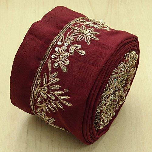 Jahrgang Indian Maroon-Band benutzt Sari Spitze gestickte Trim Nähen 1YD Border -