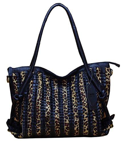 Oruil Hohe Qualität Schwarz Schaffell Leder Frauen Handtasche Weiches Leder Italienisches Design Handtasche Umhängetasche Große Einkaufstasche (Schwarz Mit Leopard) (Falten Italienischen Leder)