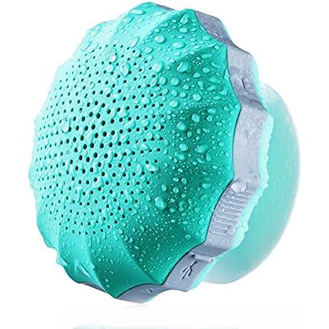 Altavoz Bluetooth COMISO Ducha Impermeable, con ventosa que se adhiere fácilmente a superficies lisas Con Increíble Autonomía de Batería de 12 Horas para baño - Color
