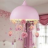 Kinder Zimmer Kronleuchter Schlafzimmer Kronleuchter Anhänger rosa Keramik Kristall-Kronleuchter Durchmesser 30CM Wandschalter E14 Lichtquelle leben (nicht E14 Lichtquelle tragen)