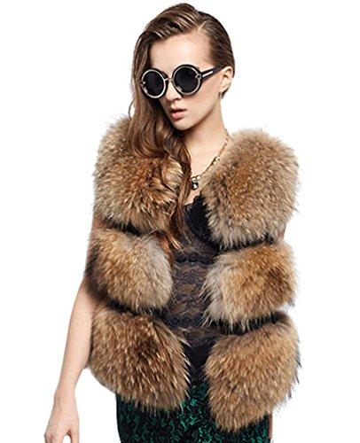 Chengyang donna pelliccia sintetica invernale cappotto senza maniche giacca giubbino parka gilet (marrone, l)