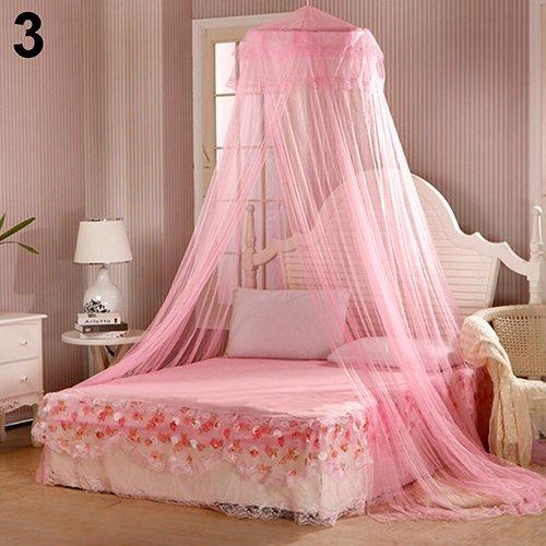RIsxffp Moskitonetz für Bett, Dekoration für Sommer Süß Stil Bett Rund Canopy Dome Moskitonetz Pink -