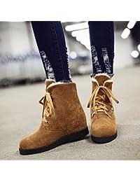 &ZHOU Botas otoño y del invierno botas cortas mujeres adultas 'Martin botas botas Knight A5-1 , yellow , 44