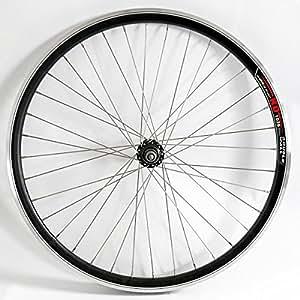 """Rolektro 26 Zoll Hinterrad-Felge Laufrad 26"""" Aluminium Hohlkammer-Felge Schwarz-Silber Alu Fahrrad-Felge f. Tourenrad Cityrad"""