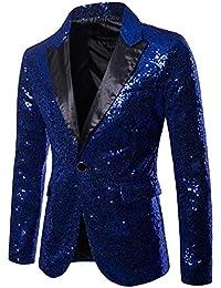 840f5f7763a4 Ymysfit Hommes Veste de Costume Slim Fit Blazer MariagePaillettes Festival  Élégant ...