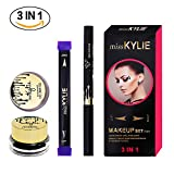 Turelifes Eyeliner Stamp Kit Easy to Makeup Eye Wing Liners 3 in 1 Drawing Eyeliner Tool-Includes Wing Stamp, Angled Brush & Eyeliner Ink (klein)