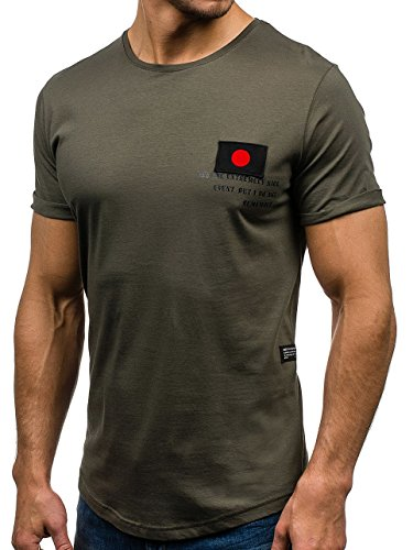 BOLF Herren Kurzarm T-shirt mit Aufdruck Sommer Party Slim fit 3C3 Motiv Grün