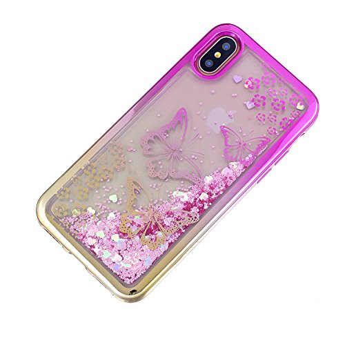 iPhone X hülle flüssig,iPhone X hülle glitzer, LuckyW TPU Silikon Gradient Farbe Handyhülle für iPhone X 3D Bling Glitter Glitzer Flowing Fließend Liquid Flüssig Shinny Moving Star Floating Trend Schw Schmetterling