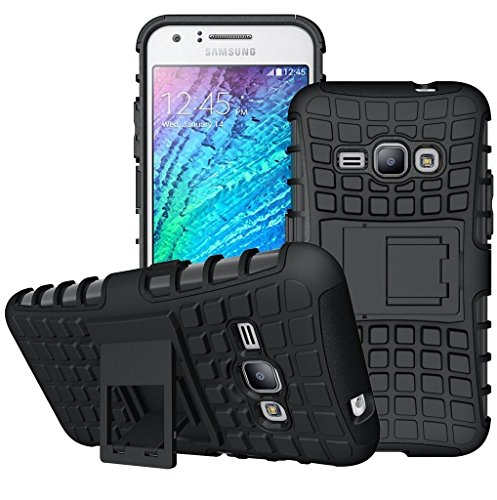 Wellmart Hybrid Defender Military Grade Armor Kick Stand Back Case Cover for Samsung Galaxy J2 2016 (Black)