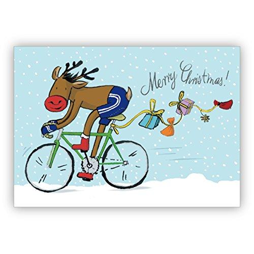 1 Grusskarte: Humorvolle Weihnachtskarte mit Fahrrad fahrendem Weihnachts Elch und Geschenken im Schnee