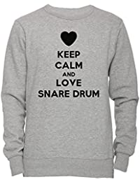 Keep Calm And Love Snare Drum Unisexo Hombre Mujer Sudadera Jersey Pullover Gris Unisex Todos Los Tamaños Men's Women's Jumper Sweatshirt Grey All Sizes