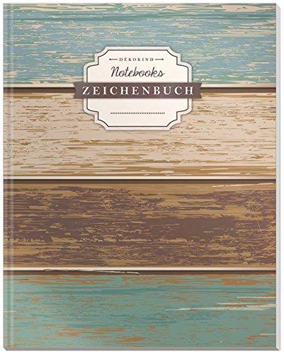 DÉKOKIND Zeichenbuch | DIN A4, 122 Seiten, Register, Vintage Softcover | Leeres Buch zum Selbstgestalten | Motiv: Holzwand