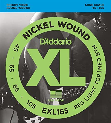 D'Addario EXL165 XL Nickel Wound Regular Light Top/Medium Bottom (.045-.105) Electric Bass Guitar Strings