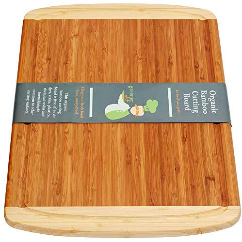 Greener Chef Extra große organische Bambo Schneidebrett Sprung-Prevention-Technologie Holzschneidebretter für Küche - Juice Groove für Fleisch 18