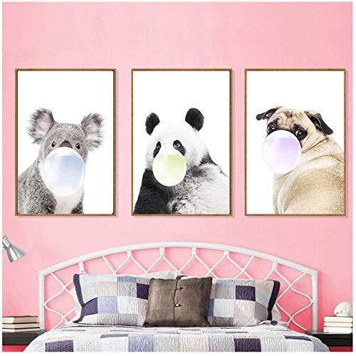 Nordic Tier Leinwand Malerei Panda Print Poster Wandkunst Bild für Kinder Schlafzimmer Kindergarten Wohnkultur 40x60 cm Kein Rahmen Tier