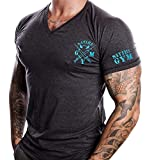 Satire Gym Fitness T-Shirt Herren - V-Neck - Geeignet Für Workout, Training - Slim Fit - Farbe Anthrazit (M, anthrazit - neon Blauer Stick)
