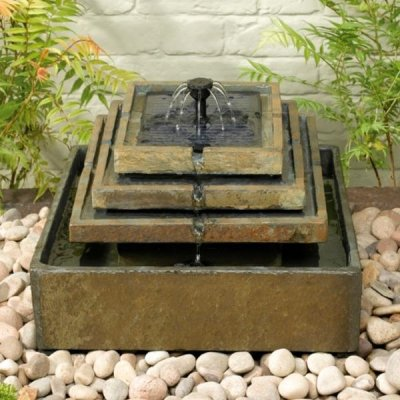 Small Solar Powered Water Feature Natural Slate Tiered Fountain PC240