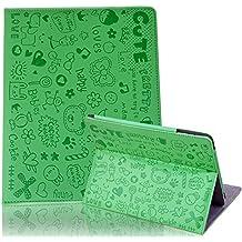 HDE - Funda de piel con función atril para iPad 2/3/4, diseño de dibujos, color verde