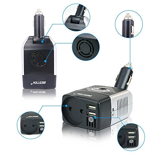 BESTEK Convertisseur Chargeur Allume Cigare Onduleur Transformateur avec 2 Ports USB, 150W 12V 220V - Prise EU