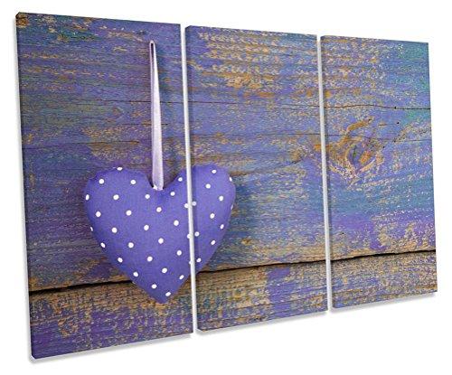 Shabby Chic Herz Treble Leinwand Wand Art Box Rahmen Bild Druck, 150cm wide x 100cm high