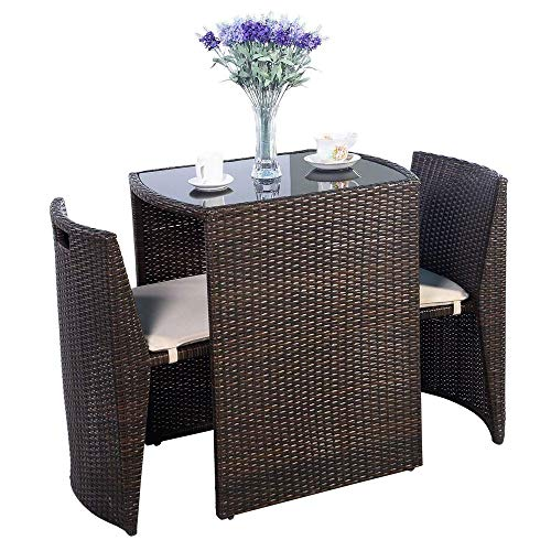 VBARV Outdoor wicker garden rattan chair tables and chairs, simple leisure card seat for easy storage of 3 pieces of padded terrace rally bistro set garden lawn sofa furniture