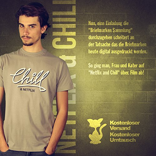 Netflix & Chill - Herren T-Shirt von Kater Likoli Light Gray
