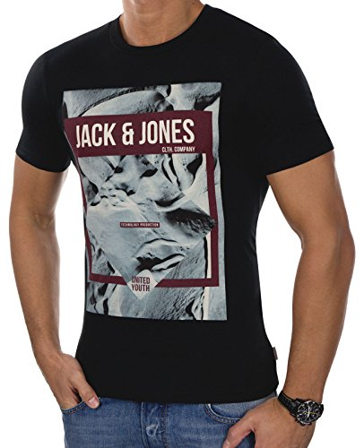 JACK & JONES Herren T-Shirt jcoFRANK Tee Shirt 3D-Print Rundhals Slim Fit (L, Schwarz (Black Fit:SLIM))