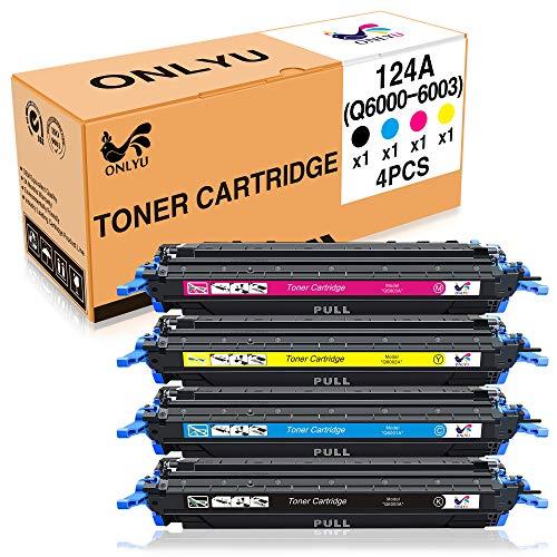 Onlyu cartuccia toner hp 2600n (q6000a q6001a q6002a q6003a) alto rendimento compatibili con hp color laserjet 1600 2600n 2605dn 2605dtn cm1015 cm1017 stampante 1-set(1nero 1ciano 1magenta 1giallo)