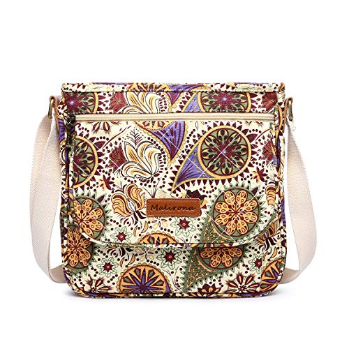 8e276f5fd54f Malirona Damen Canvas Messenger Bag Cross Body  Geldbeutel-Spielraum-Geldbeutel-Schulter-schulblumenmuster einheitsgröße  gelbe Blume