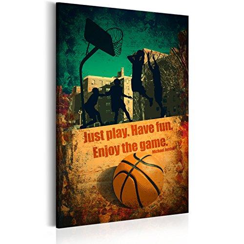 Bilder 60x90 cm - XXL Format - Fertig Aufgespannt – TOP - Vlies Leinwand - 1 Teilig - Wand Bild - Kunstdruck - Wandbild - Poster Enjoy the game Poster Basketball Sport i-A-0105-b-a 60x90 cm