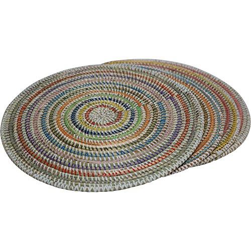 EA Déco Naturel & Design ABT6MUL Pindé Ensemble de 4 Sets de Table Plastique/Paille Multicolore 40 x 40 cm
