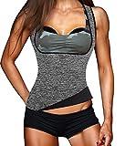 Damen Hot Schweiß Weste Neopren Sport Body Shaper Korsett Sauna-Anzug Waist Taille Cincher (XL(Fit 36.2-40.1 Inch Waist), Grey(3-5 Days Delivery))