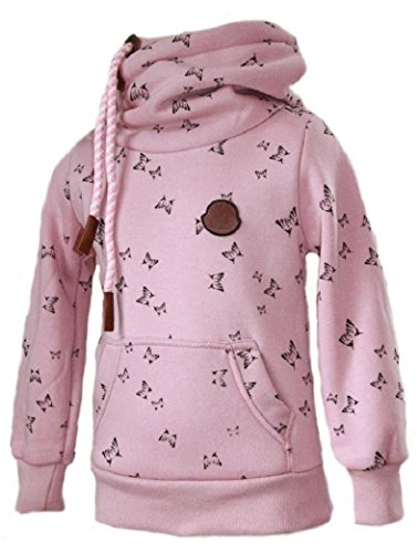 SQUARED & CUBED Mädchen Hoodie Kapuzenpullover Sweatshirt Schmetterling Rosa (110/116)
