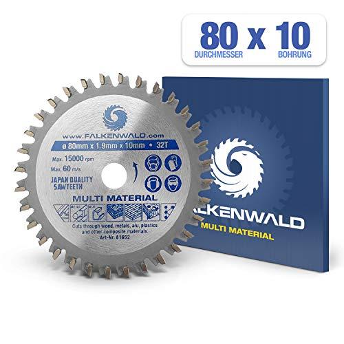 FALKENWALD ® Kreissägeblatt 80 x 10 mm - Ideal für Holz, Metall & Alu - kompatibel mit Mini Gehrungssäge & Tischsäge von PROXXON - Universal Sägeblatt aus hochwertigem Hartmetall