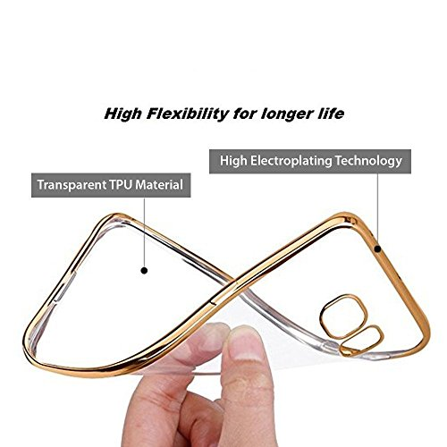 Dashmesh Shopping Electroplated [Metallic Chrome Finish] Golden Border Transparent Silicon TPU Soft Back Cover for Panasonic P55 Novo