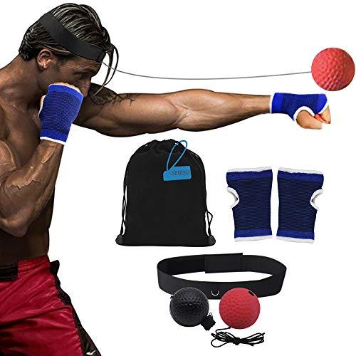 SENDILI Palla da Boxe per i Riflessi - Reflex Ball Boxe Attrezzatura da Boxe Riflesso velocità Formazione Pugilato Punch Esercizio Pallina con Fascia di Testa, 6 Pezzi Set