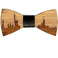 BOBIJOO Jewelry - Pajarita Madera bambú York USA Cuero